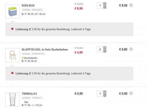 [Festival-Deal] 24 Liter Kühlbox + 2 Holz Klappsessel + Trinkglas zusammen für 19,29€ inkl. Versand @ XXXL Shop