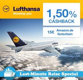[QIPU] Lufthansa 1,5% Cashback + 15€ Amazon-Gutschein