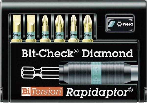 """(Voelkner) Wera Schlitz/Kreuzschlitz Bitset 6,3mm(1/4"""") - Bit-Check Diamond Rapdiaptor für 19,99 EUR"""