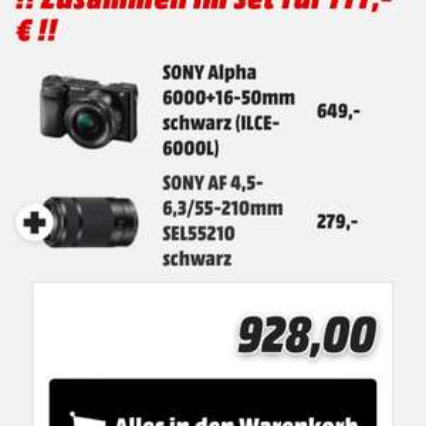SONY Alpha 6000+16-50mm schwarz (ILCE-6000L) + SONY AF 4,5-6,3/55-210mm SEL55210 schwarz für 777€