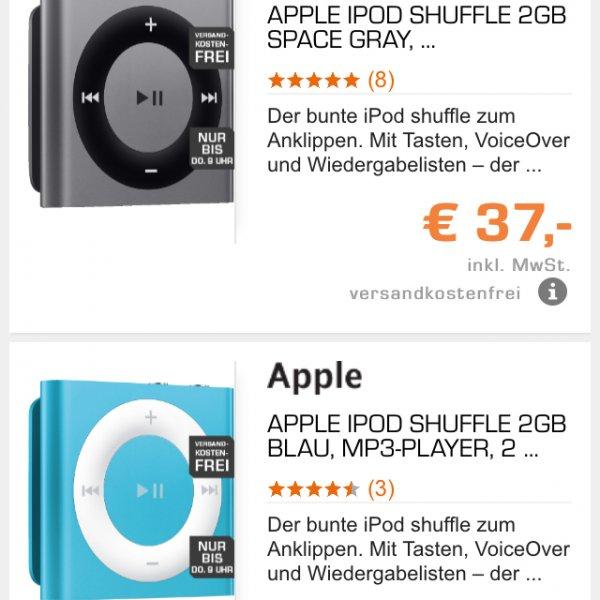 iPod Shuffle 2GB 32€ bei Abholung im Markt