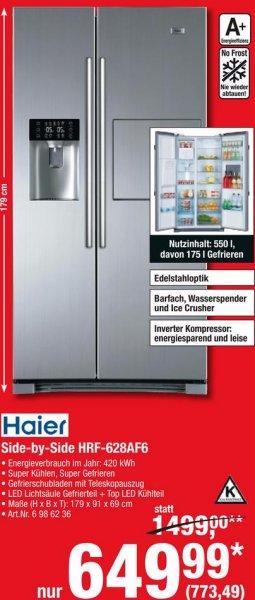 Haier HRF-628AF6 Side-by-Side Kühlschrank inkl. Eiswürfel-/Crushed-Ice-Spender, Barfach, Wasserspender, No Frost für 773,49 € @ Metro