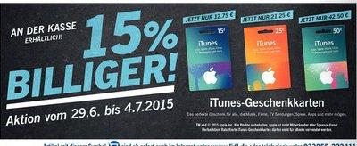 Itunes Geschenkkarten mit 15% Rabatt bei Lidl ab 29.06.