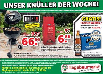 [Lokal Offline - Hagebaumarkt 2x in München) Weber Compact Kettle Holzkohle-Grill 47cm schwarz