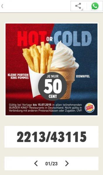 [Burger King] kleine Pommes und kleines Eis für je 50cent, Coupons fürs Handy