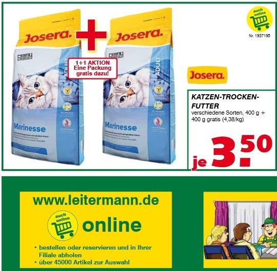 Lokal (Sachsen und Thüringen) Katzenfutter Josera 400 g + 400 g Gratis