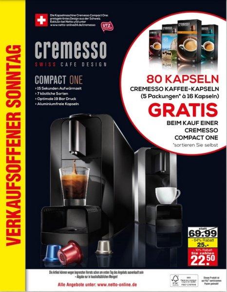 [Lokal Stuttgart] Netto (der der nicht bellt) Cremesso compact one Kaffeekapselmaschine + 80 Kapseln