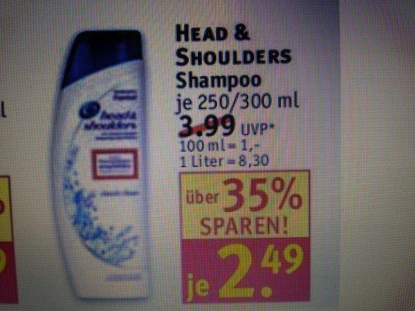 Rossmann 250/300 ml Head& Shoulders Shampoo nur 1,35€ ( Angebot & 10% Rossi )