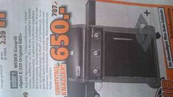 [Lokal Braunschweig] Weber Gasgrill Spirit E 320 Original GBS black schwarz mit Bauhaus Tiefpreisgarantie für 572,00