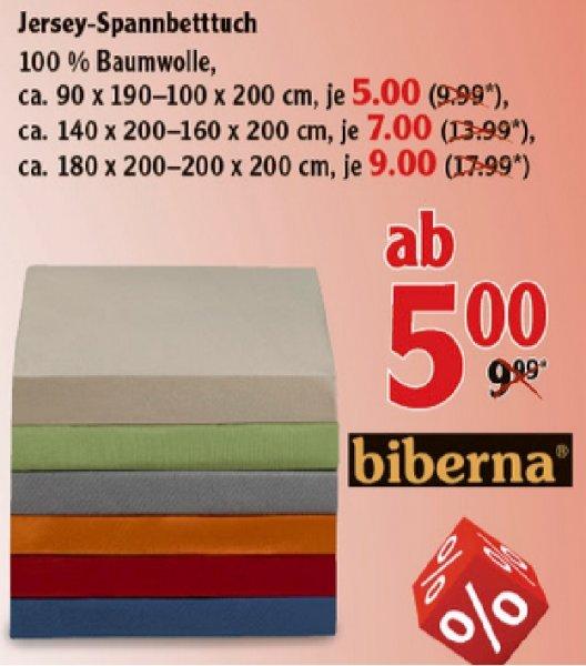 [Globus Losheim evtl. bundesweit] Biberna Jersey-Spannbettlaken ab 5€!