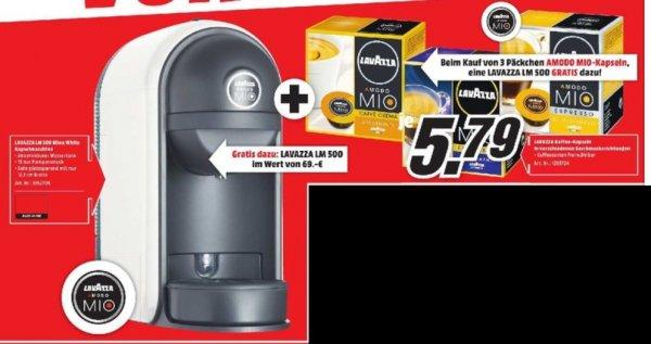 [Lokal Mediamarkt Esslingen] Lavazza LM500 A Modo Mio Minu Kapselmaschine ,Weiß oder Rot, Gratis beim Kauf von 3 Packeten Amodo MioKapseln (17,37€)