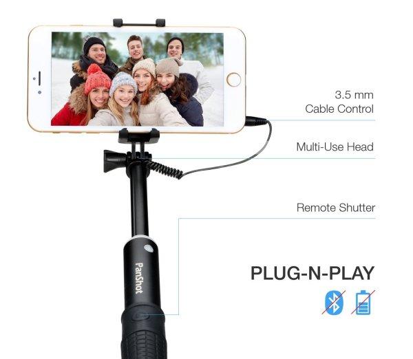 PanShot LT-C01 Selfie Stick mit Kabelsteuerung (Amazon.de)