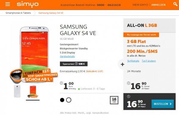 simyo All-On L 3 GB LTE für 17,98 € / Monat mit Samsung Galaxy S4 Value Edition
