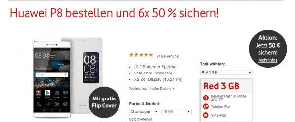 [Vodafone] Huawei P8 + 3 GB LTE Allnet-Flat für 42/23,50€ pro Monat