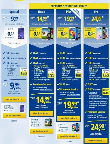 1&1 Handyverträge Kracher ( D-Netz o. Eplus-O2 ) (8GB/Ausland/29€)