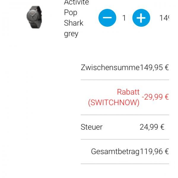 Withings Wearables z.B Activité Pop für 119,96€