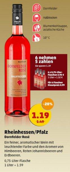 [PENNY] 33% Ersparnis Dornfelder Rosè 0,75l für 99ct