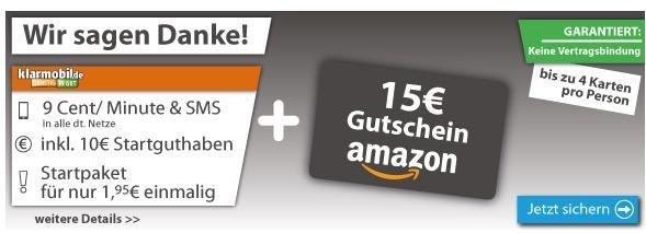60€ Amazon Gutschein für 11,80€ + 40€ Startguthaben via Klarmobil