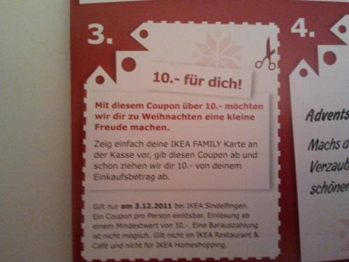 Div IKEA-Coupons im Adventskalender, u.a. 2 x 10 € für IKEA Family Mitglieder