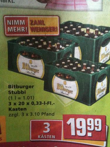[LOKAL] 3x Kästen Bitburger Stubbi's für 19,99€ bei Rewe Aachen-Brand!!