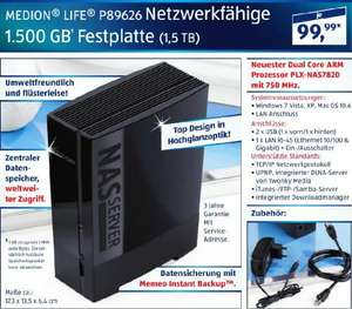 Medion Life P89626 NAS-Festplatte (1,5 TB) bei Aldi für 99,99€