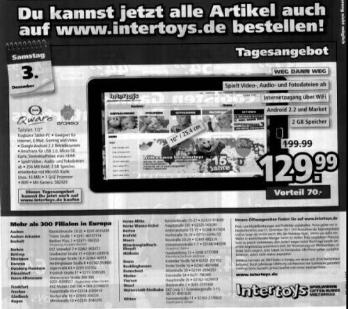 "Qware 10"" Tablet WiFi nur am am 03.12.2011 bei Intertoys [nur lokal?]"