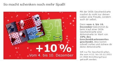 Ikea Gutscheinkarten + 10% des Geschenkkartenwertes geschenkt