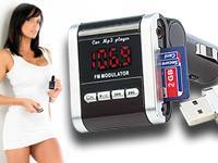 Pearl: auvisio Stereo-FM-Transmitter für MP3-Musik von USB- & SD-Card Slot