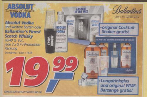 2 x 0,7l Absolut Vodka + Original Cocktail-Shaker (Literpreis: 14,28€ ) bei Real!