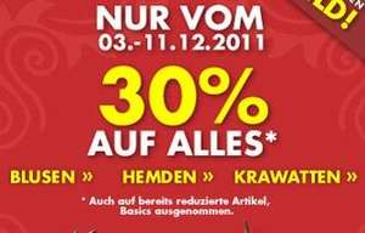 30% auf alles + 5€ Gutschein bei Seidensticker