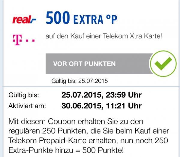 Telekom Xtra Card bei Real kaufen mit 500 PB Punkte zusätzlich