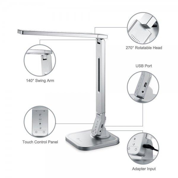 TaoTronics® 15W LED Tischlampe Lampenkopf 270° drehbar 4 Modi dimmbar, mit USB-Anschluss zum Aufladen von Smartphones und Tablets, silber [Energieklasse A]
