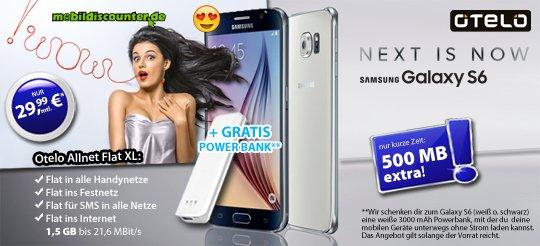 Otelo Allnet-Flat XL 1000MB + 500MB gratis + Galaxy S6 + Powerbank geschenkt = 29,99 mtl.!!!