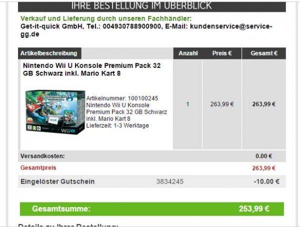 Nintendo Wii U Premium Pack 32 GB inkl. Mario Kart 8 über Rakuten.de für 263,99€ inklusive Rakutenpunkten (263), mit -10€ NL-GS dann 253,99€, VSK-frei