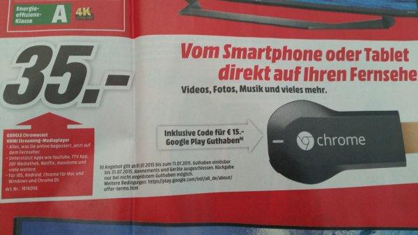 [Media Markt] Chromecast für 35,- incl. 15,- Play Guthaben