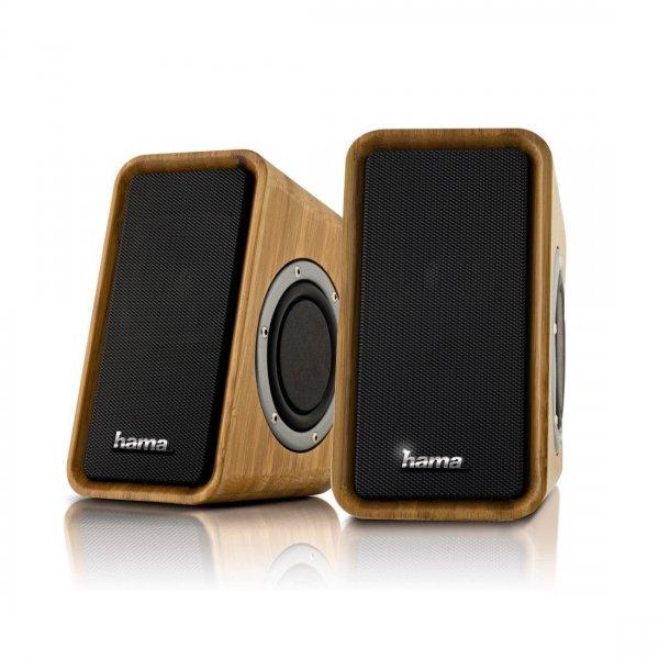 Hama Bambus 2.0 PC Lautsprecher + GRATIS TASCHENLAMPE