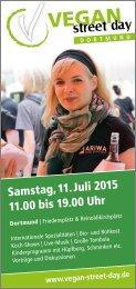 Vegan Street Day 2015 mit Verkostung, Dortmund, Samstag, 11. Juli 2015, 11.00 bis 19.00 Uhr