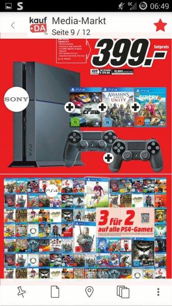 Media Markt Erfurt T.E.C eröffnungsangebot PS4 +2.Controller + unity +the crew+  Far cry 4 für 399€  ( Ersparnis etwa 80€)