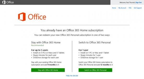 Office 365 Home mit Office 365 Personal Lizenz um 9 Monate verlängern