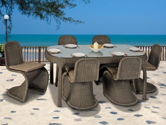 Aniba Essgruppe Rio Polyrattan 7-teilig Tisch Stühle inkl. Polster Grau, 1003,31 EUR @ hitmeister