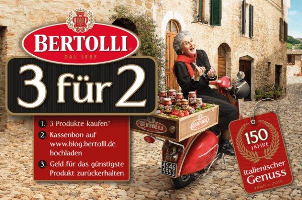Bertolli 3 Produkte kaufen, für das günstigste Produkt Geld zurück erhalten