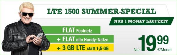 Smartmobil LTE1500 Summer-Special Allnet-/SMS-Flat, 3GB LTE, monatlich kündbar, 19,99€