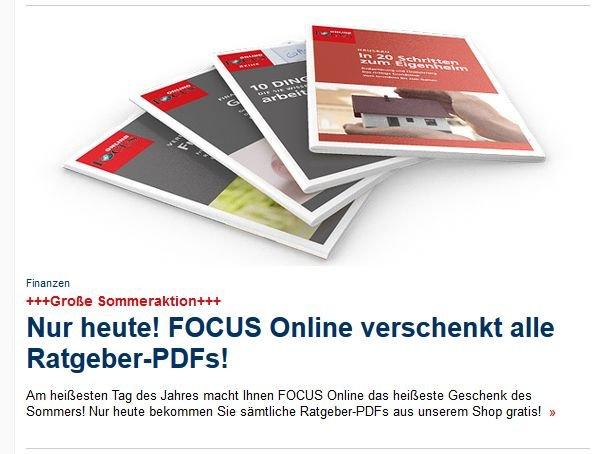 Nur heute! FOCUS Online verschenkt alle Ratgeber-PDFs!