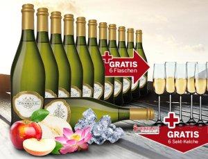 12 Ebrosia Sektflaschen inkl. 6 Sektgläser gratis! für 64,94€
