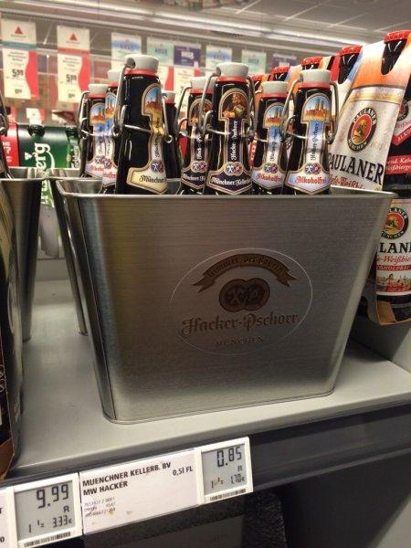 Bierkühler bei Kauf Sixpack Bier(Hacker Pschorr) REWE Raum HH/SH