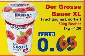[K+K, offline, regional ab 6.07.2015] Der große Bauer XL Joghurt (500g) für 0,65€ (Normalpreis 1,19€)