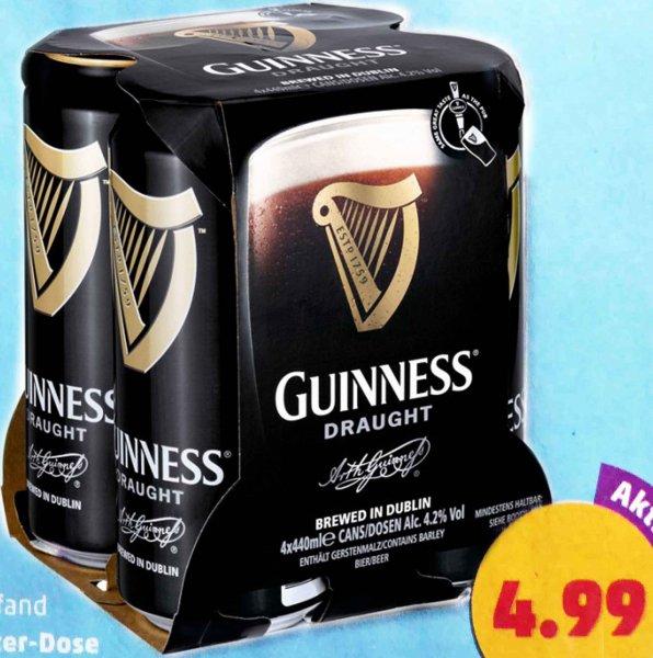 Guinness Draught 4,2%, 4x440 ml Dosen Guinness nur 4,99€ auch einzeln zu 1,25€! @Penny bundesweit