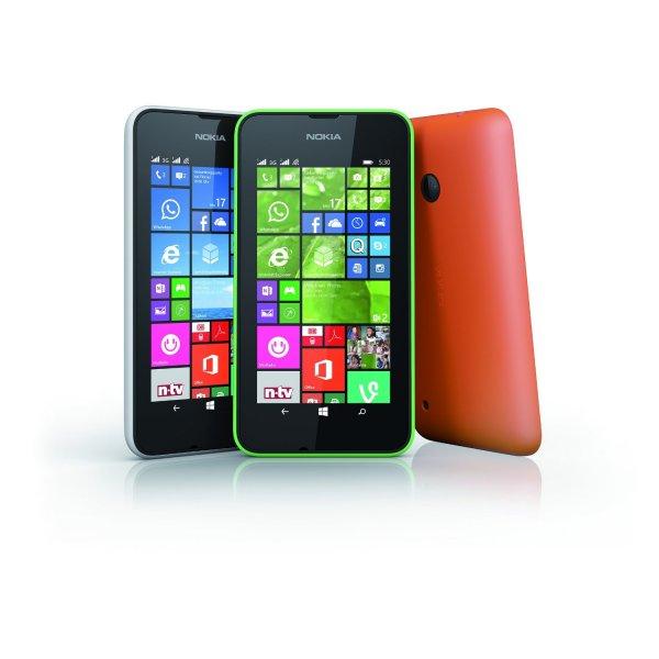Nokia Lumia 530 Dual-SIM (Weiß, Grün oder Orange) inkl. Zusatzwechselcover Grau für 54€ @ Saturn.de