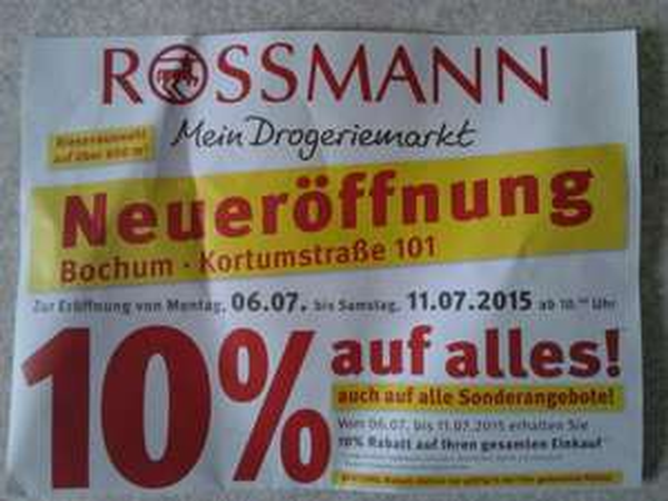 [Bochum]Rossmann 10% Neueröffnung