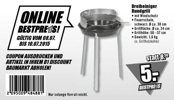 [B1 Discount Baumarkt][Festival-Deal] Rundgrill Ø 34 cm mit Gutschein für nur 5,00€ (08-10.07)